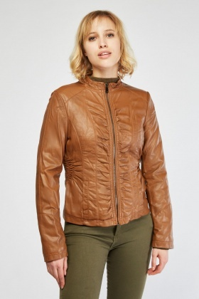 Stitched Trim Faux Leather Jacket