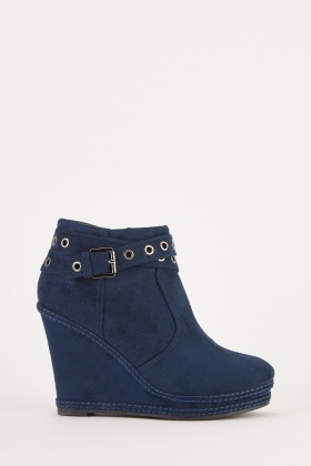Buckle Strap Wedge Boots