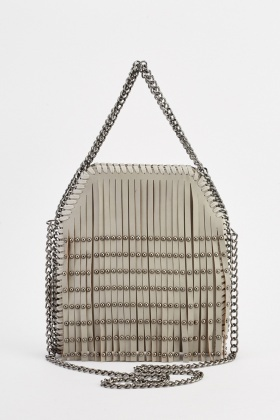 Chain Trim Fringed Cross Body Bag