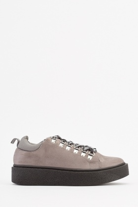 Chunky Lace Up Suedette Sneakers