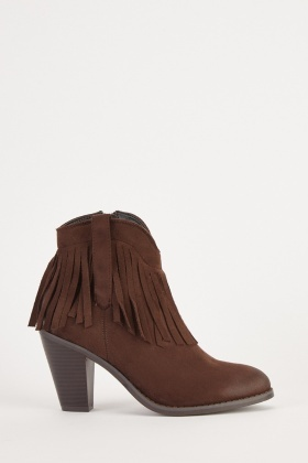 Coffee Tassel Trim Ankle Boots