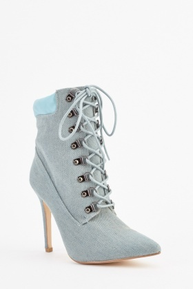 Denim Lace Up Ankle Boots