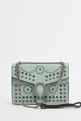 Encrusted Faux Leather Bag