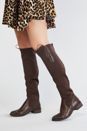 Encrusted Knee High Neoprene Boots