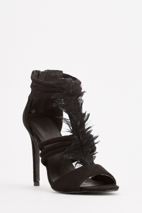 Feather Trim Suedette Sandals