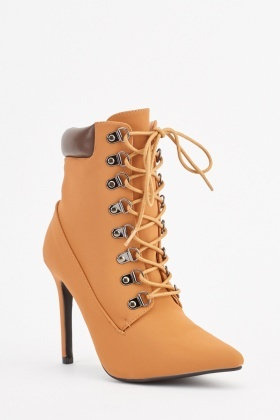 Lace Up Pointy Heel Boots
