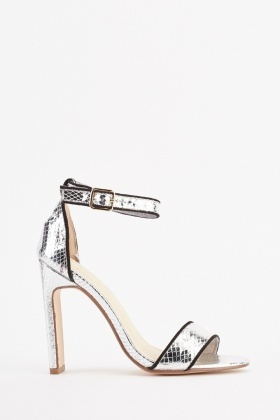 Metallic Mock Croc Heel Sandals