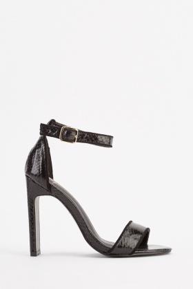 b57a6fd46c5 Mock Croc Ankle Strap Heels