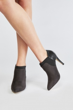 Suedette Contrast High Heeled Boots
