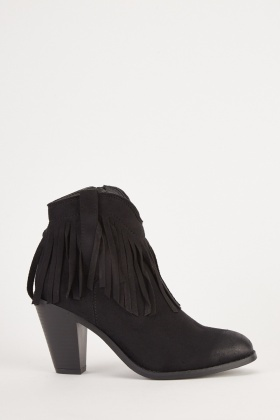 Tassel Trim Black Ankle Boots