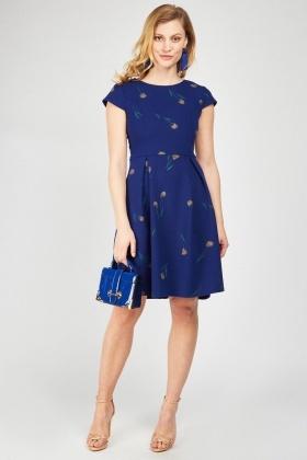 12035caca6 Cap Sleeve Box Pleated Dress