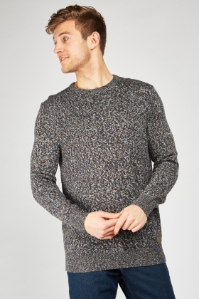 Crew Neck Speckled Knit Jumper