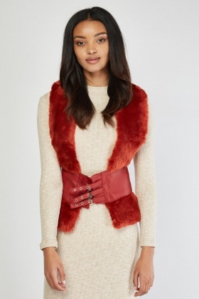 Harness Belt Attached Fur Gilet