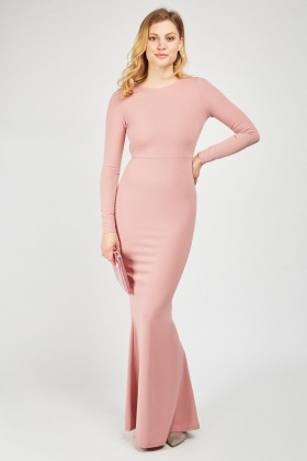 Keyhole Back Mauve Maxi Dress