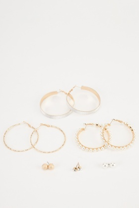 Mixed Hoop And Stud Earrings Set