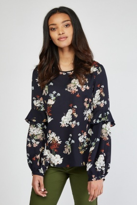 Ruffle Bishop Sleeve Floral Blouse