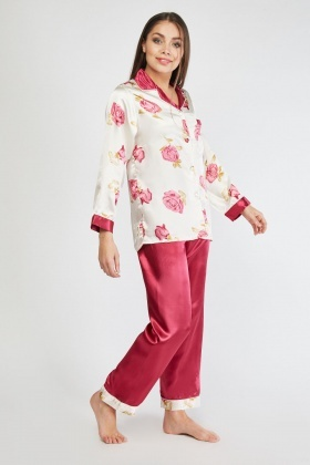 Vintage Rose Print Sateen Pyjama Set