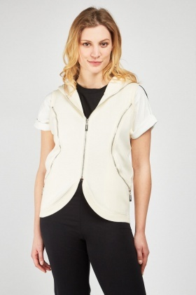 Zipper Trim Hooded Gilet
