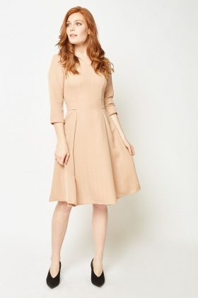 Box Pleated Midi Swing Dress