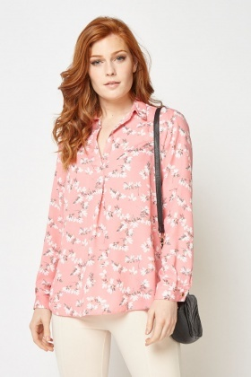 Calico Print Collared Blouse