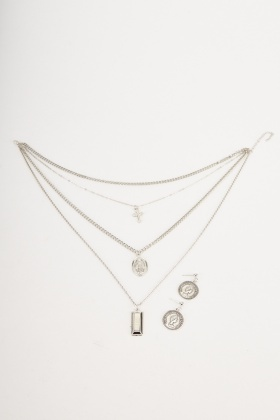 Contrasted Layered Necklace And Earrings Set