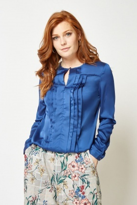 Pleated Front Sateen Blouse