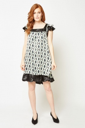 Retro Print Sateen Babydoll Dress