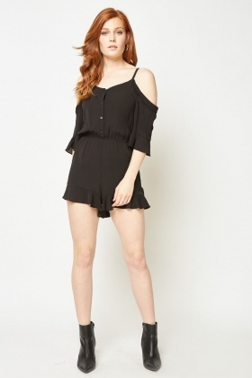 Ruffle Cold Shoulder Playsuit