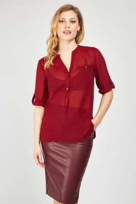 Sheer Chiffon Wine Blouse