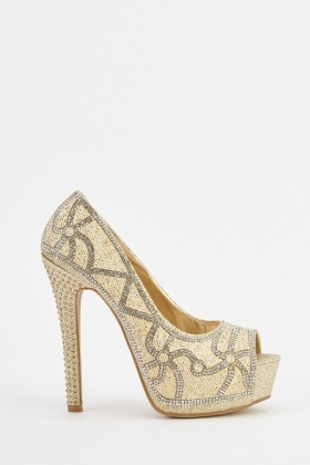 Encrusted Patterned High Heels