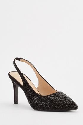 8141bc082d1 Encrusted Slingback Court Heels - Black - Just £5