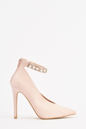 Faux Pearl Encrusted Court Heels