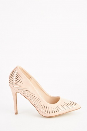 Metallic Cut Out Court Heels