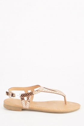 Metallic Diamond Pattern Sandals