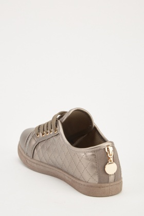 Metallic Diamond Stitched Trainers
