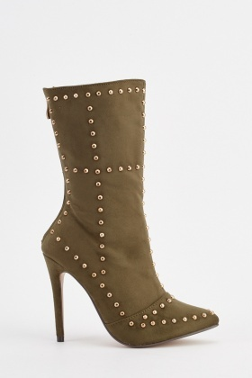 Studded Trim High Heeled Boots