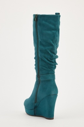 lower price with really comfortable factory price Suedette Knee High Wedge Boots - Just $6