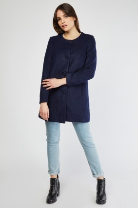 Collarless Woven Pea Coat