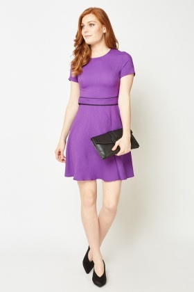 Crinkled Belted Front A-Line Dress