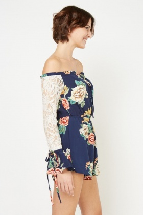 Lace Sleeve Floral Playsuit