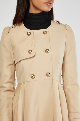 Military Button Trim Frock Coat