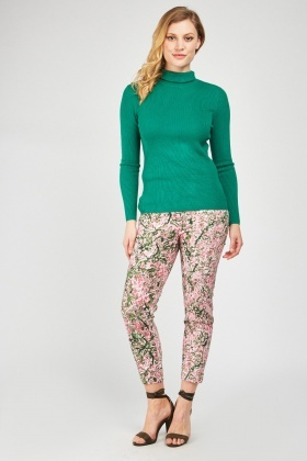 Repeat Floral Pattern Cigarette Trousers