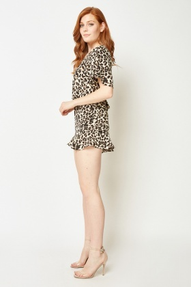 Ruched Front Animal Print Playsuit