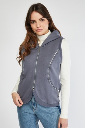 Sleeveless Zipper Trim Hooded Gilet