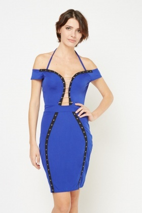 T-Bar Eyelet Trim Bodycon Dress