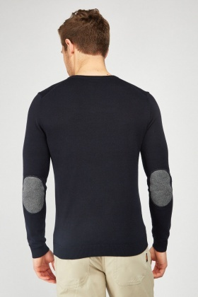 V-Neck Elbow Patch Sweater