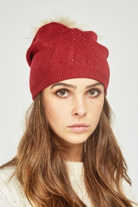 Encrusted Fur Trim Beanie Hat