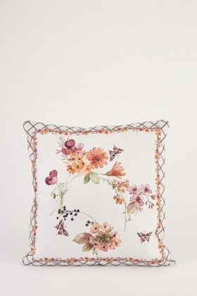 Floral Border Printed Cushion