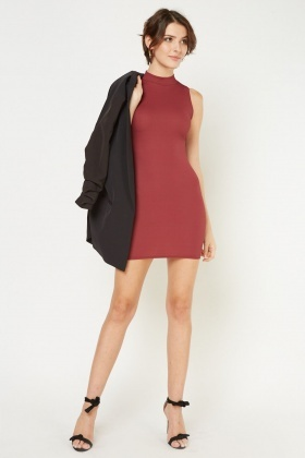 Funnel Neck Rib Bodycon Dress