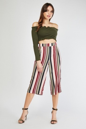 0411bf099e8e1 High Waist Multi Striped Culottes